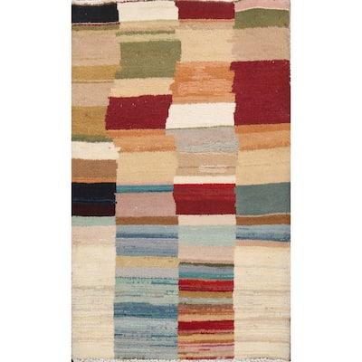 "Gabbeh Kashkoli Oriental Kitchen Size Area Rug Handmade Wool Carpet - 2'3"" x 3'3"""