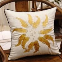 """Luxury Yellow Fish Embroidered Pillow 18""""X18"""""""