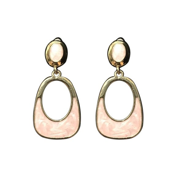 max & MO Open Drop Blush Mother of Pearl Finish Earring - gold/pink