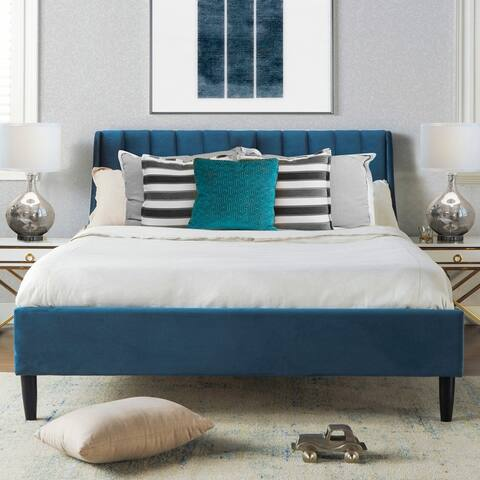 Strick & Bolton Aphrodite Upholstered Velvet Tufted Platform Bed