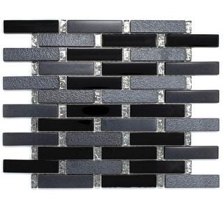 TileGen. Paint Effect Brick Random Sized Glass Mosaic Tile in Black Wall Tile (10 sheets/10.9sqft.)