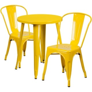 Brimmes 3pcs Round 24'' Yellow Metal Table w/2 Cafe Chairs