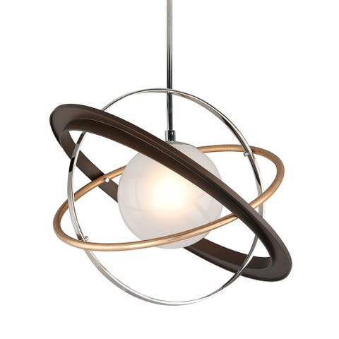 Apogee 1-light Bronze with Gold Leaf and Polished Stainless LED Pendant