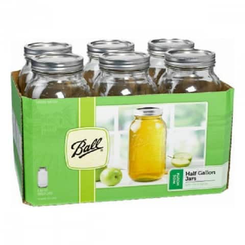 Ball 68100 Wide Mouth Glass Preserving Jars, 1/2-Gallon, 6-Pack