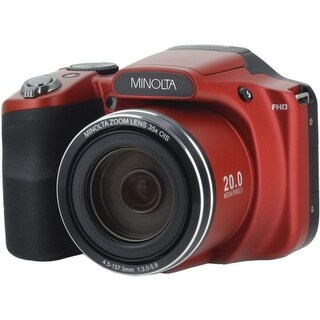 Minolta(R) MN35Z-R 20.0-Megapixel 1080p Full HD Wi-Fi(R) MN35Z Bridge Camera with 35x Zoom (Red)
