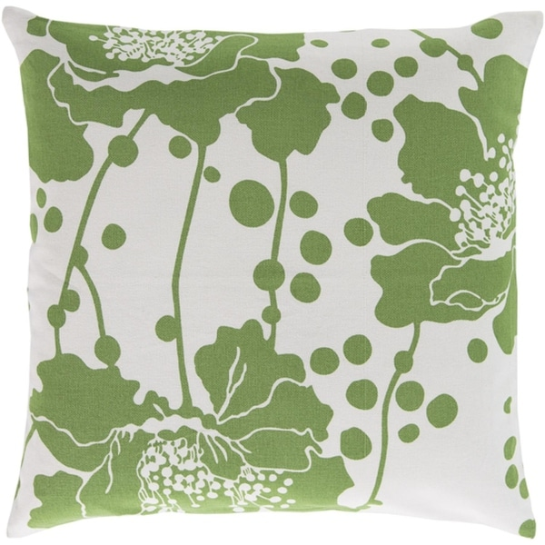 "20"" Généreux Flora Apple Green and White Decorative Square Throw Pillow - Down Filler"