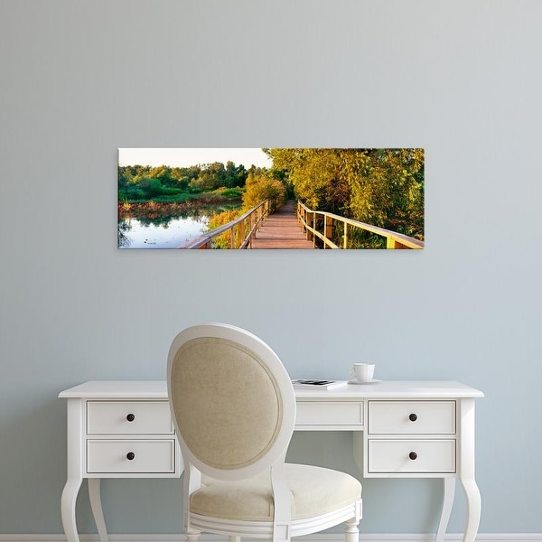 Easy Art Prints Panoramic Image 'Boardwalk in a forest, Magee Marsh Wildlife Area, Oak Harbor, Ohio, USA' Canvas Art