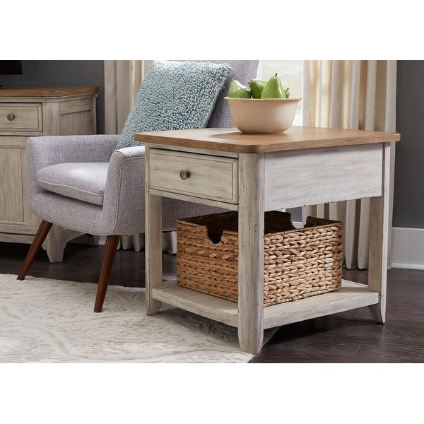 Farmhouse Reimagined Antique White End Table with Basket