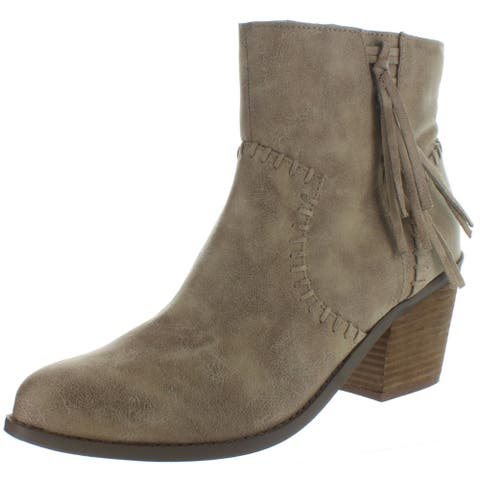 Not Rated Womens Zaine Cowboy, Western Boots Faux Leather Block Heel