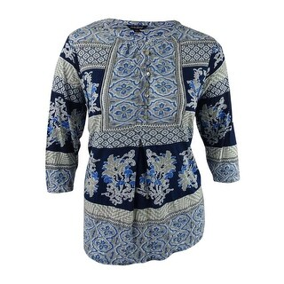 Lucky Brand Women's Trendy Plus Size Printed Top (2X, Blue Muti) - Navy Multi - 2x