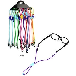 JAVOedge (12 PACK) 12 Different Colors with Adjustable Length Eyeglasses / Sunglasses Neck Strap For Kids of All Ages