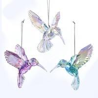 "Club Pack of 12 Iridescent Finish Decorative Hummingbird Ornaments 4"" - BLue"