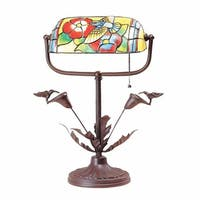 Table Lamp Antique Brass  Style Stained Glass 9.75H