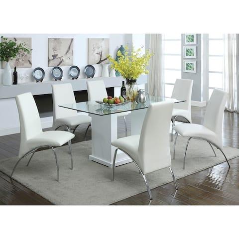 Furniture of America Benton 7-piece White Dining Table Set