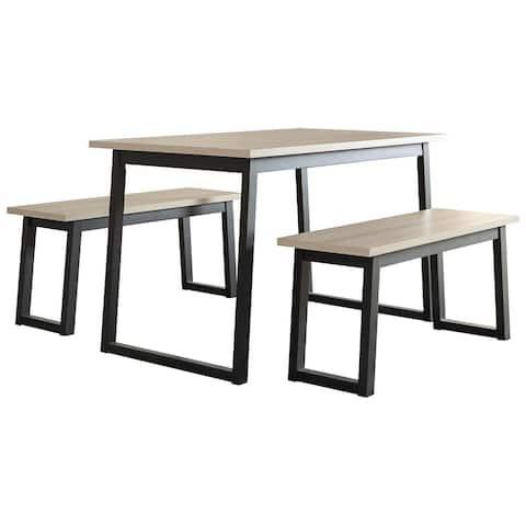Waylowe Casual Rectangular Dining Room Table Set of 3, Light Brown/Black