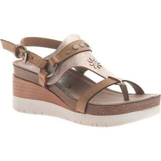 OTBT Women's Maverick Wedge Sandal New Taupe Leather