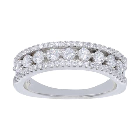 9-Stone Round-Cut Cubic Zirconia Wedding Band Ring, Sterling Silver