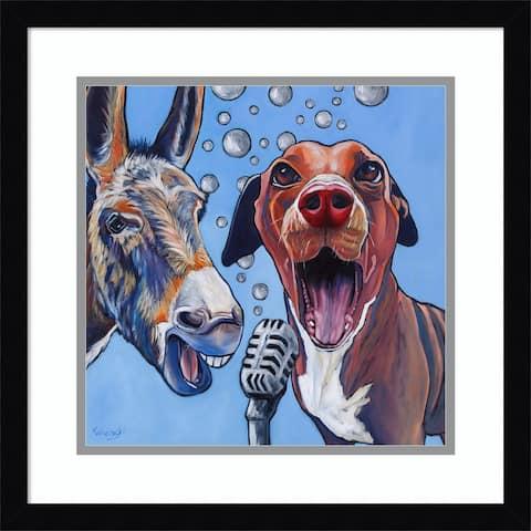 Framed Wall Art Print Harmony (Dog and Donkey) by Kathryn Wronski 17.38 x 17.38-inch
