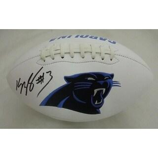 Kelvin Benjamin Autographed Carolina Panthers White Logo Football JSA