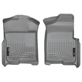 Husky Weatherbeater 2009-2014 Ford F-150 SuperCab NO Manual Shifter Grey Front Floor Mats/Liners