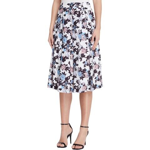 Tahari ASL Womens Pleated Skirt Floral Print Knee-Length