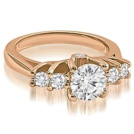 1.35 cttw. 14K Rose Gold Exquisite Trellis Round Diamond Engagement Ring