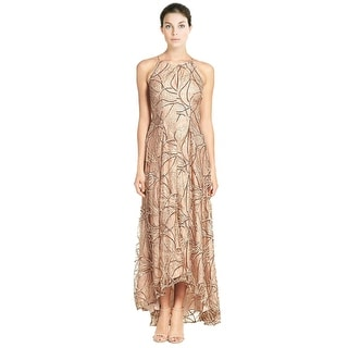 Aidan Mattox Sequin Lace Embellished V-Neck Hi-Lo Evening Gown Dress
