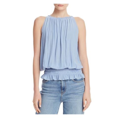 RAMY BROOK Womens Light Blue Sleeveless Jewel Neck Top Size L