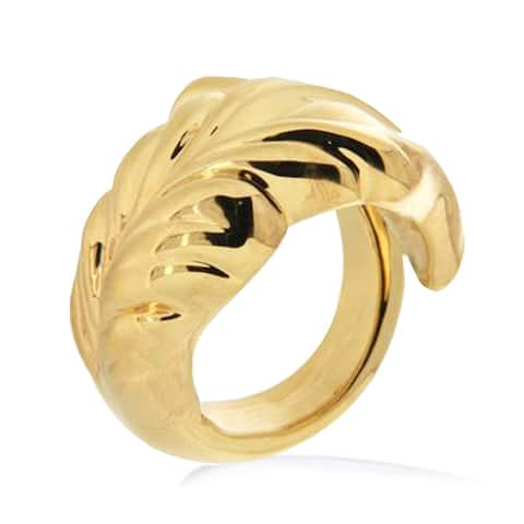 Forever Last 18 kt Gold Plated Women's Wrapped Leaf Ring