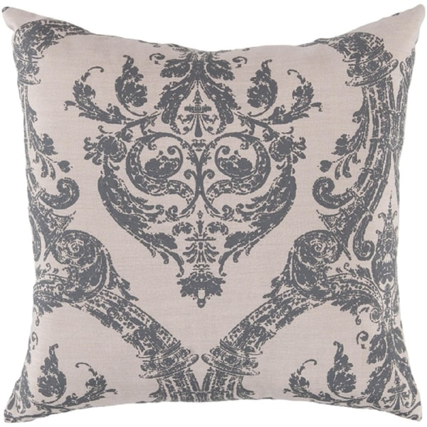 "18"" Buckingham Khaki and Slate Gray Throw Pillow Down Filler"