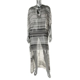 Elan Womens Hi-Low Caftan Dress Swim Cover-Up