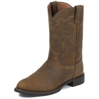 Justin Western Boots Mens Leather Cowboy Round Roper Apache Tan 3902
