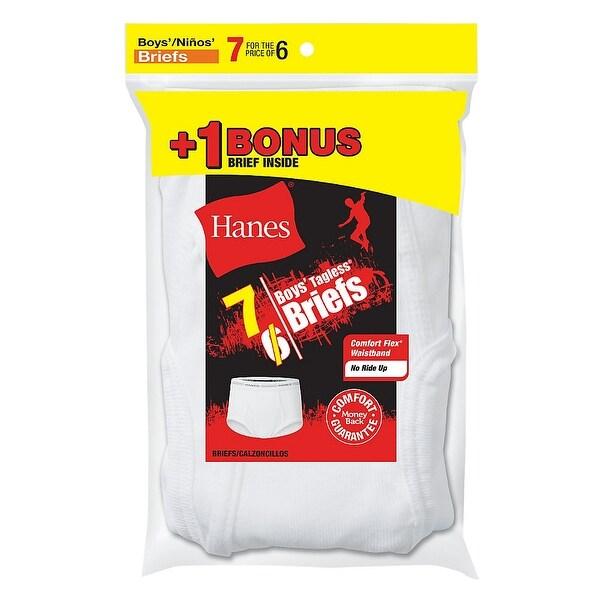 Shop Hanes Boys\' TAGLESS® White Briefs 7-Pack (Includes 1 Free Bonus ...
