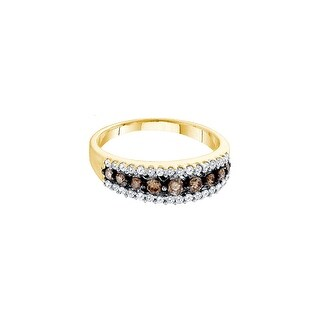 10k Yellow Gold Womens Cognac-brown Colored Diamond Fashion Band Ring 1/2 Cttw Size 5 - Brown/White