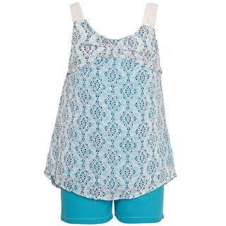 Real Love Little Girls Turquoise Diamond Pattern Top 2 Pc Shorts Outfit
