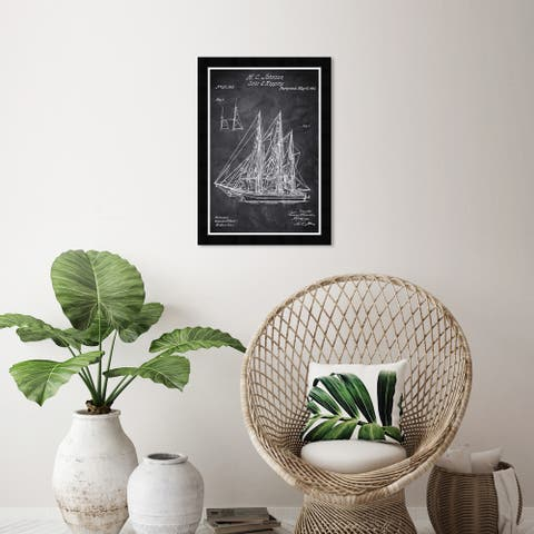 Wynwood Studio 'Sail And Rigging 1864 Chalkboard' Nautical and Coastal Black Wall Art Framed Print