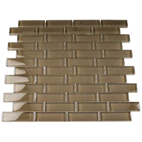 "TileGen. Glass 1"" x 3"" Mosaic Tile in Brown Wall Tile (10 sheets/9.5sqft.)"