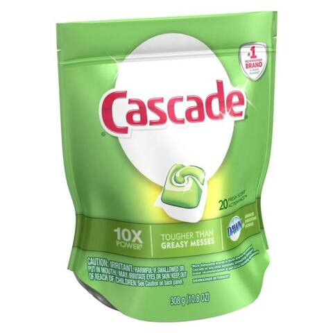 Cascade 97716 20 Action Pac Dishwasher Detergent, Citrus, 10.8 Oz
