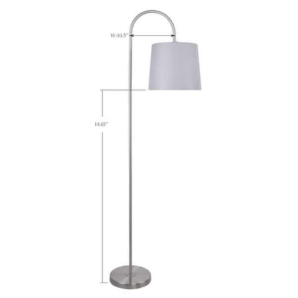62 Metal Floor Lamp W Slim Line Arched Design Linen Shade Overstock 32682602