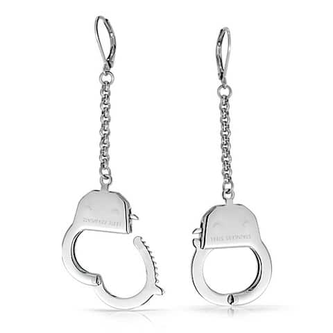 Partners In Crime Grey Shade Handcuffs Leverback Dangle Earrings For Women Couples Hot Wife Silver Tone Stainless Steel