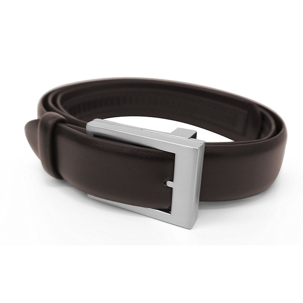 Emson Click It Belt - One Size Adjustable Leather Belt, As Seen on TV - Instant Comfort Fit, Brown