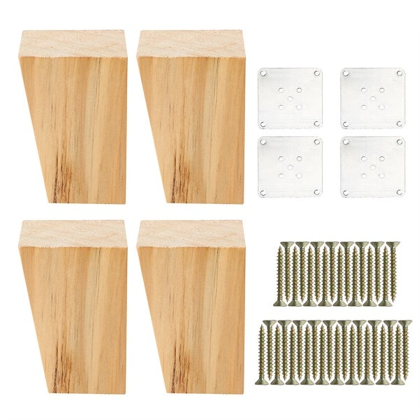 3 Square Solid Wood Furniture Leg Chair Sofa Cabinet Feet Replacement Set