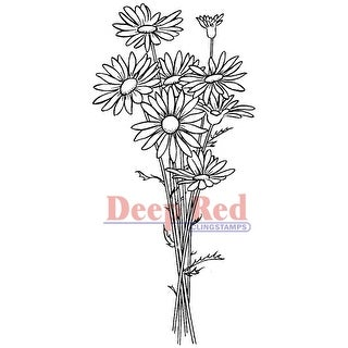 """Deep Red Cling Stamp 1.5""""X3""""-Daisy Bouquet"""