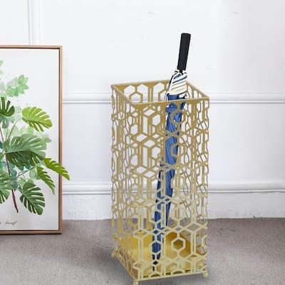 ADECO Metal Umbrella Stand Gold Square Rack Cane Walk Stick Drip Tray