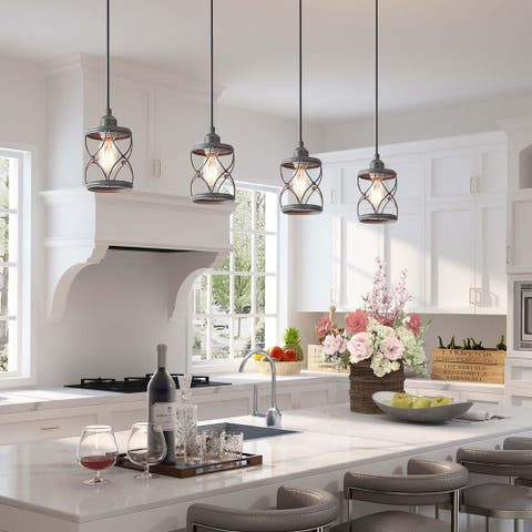 "LNC Modern Farmhouse 1-Light Geometric Mini Pendant Lighting Ceiling Light Fixture - D5""x H7.9"" - D5""x H7.9"""
