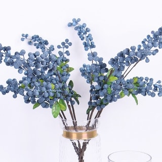 """G Home Collection Luxury Artificial Blueberry Stem 26"""" Tall - Blue/Purple"""