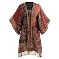 Women's Paisley Kimono Jacket - Red Tapestry Print Fringed