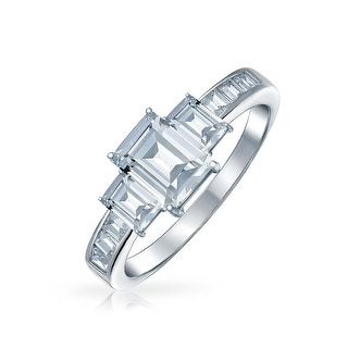 Link to 2CT Emerald Cut 3 Stone CZ Engagement Ring 925 Sterling Silver Similar Items in Rings