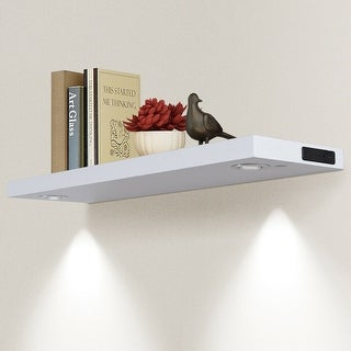 "32""L Black/White Wall Mount Shelf with LED Lamp-White"