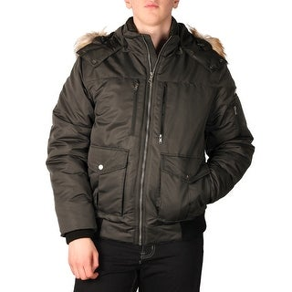 Sean John Men's Hooded Bomber with Faux Fur Trim
